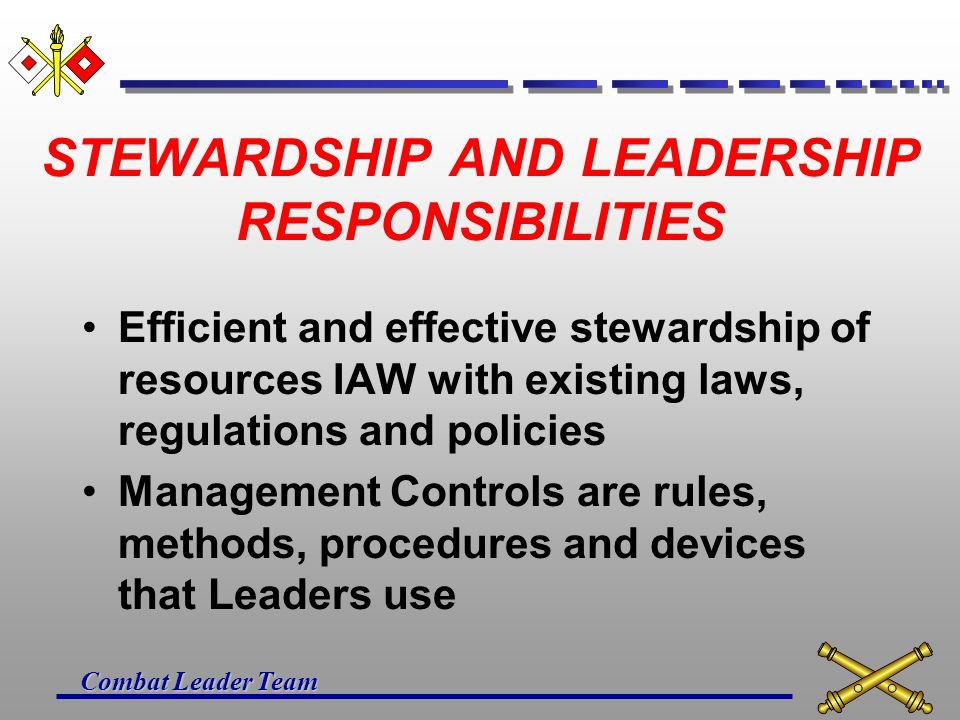 Combat Leader Team REFERENCES Army Regulation 11-2, Management Control