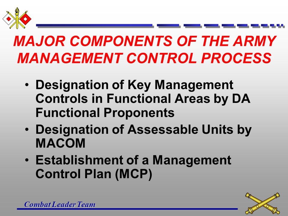 Combat Leader Team ESSENTIAL ELEMENTS OF THE ARMY MANAGEMENT CONTROL STANDARDS INFORMATION/FEEDBACK ANALYSIS/CORRECTIVE ACTION
