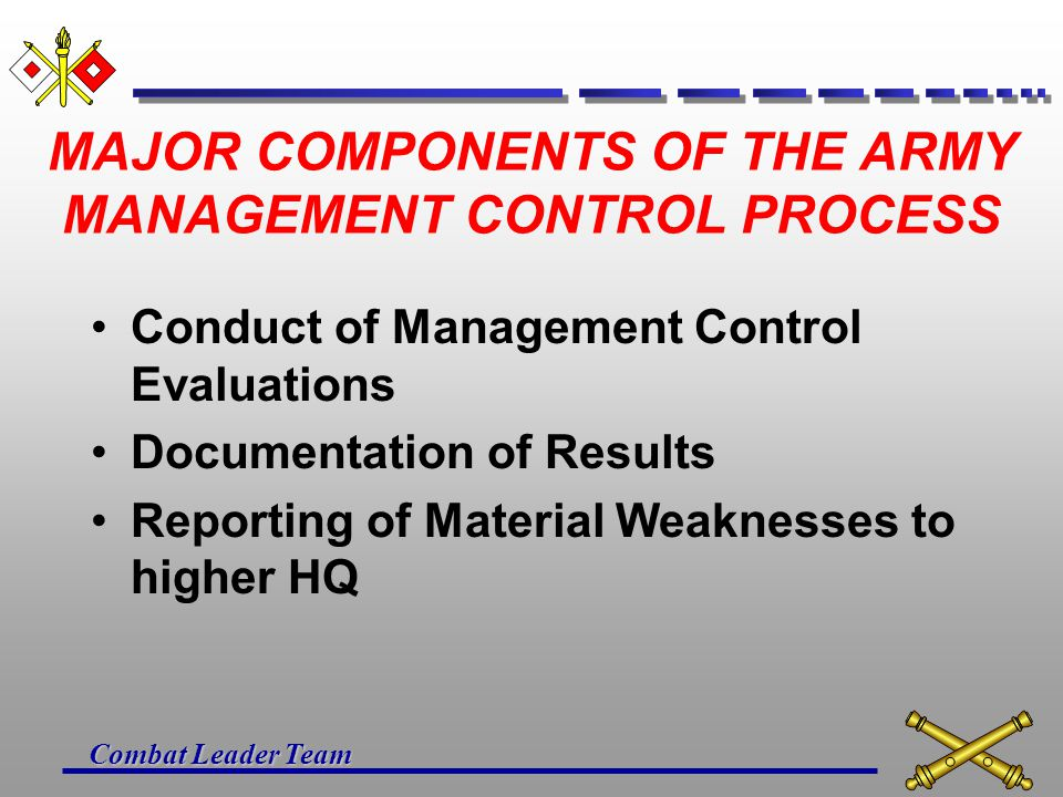 Combat Leader Team MAJOR COMPONENTS OF THE ARMY MANAGEMENT CONTROL PROCESS Designation of Key Management Controls in Functional Areas by DA Functional