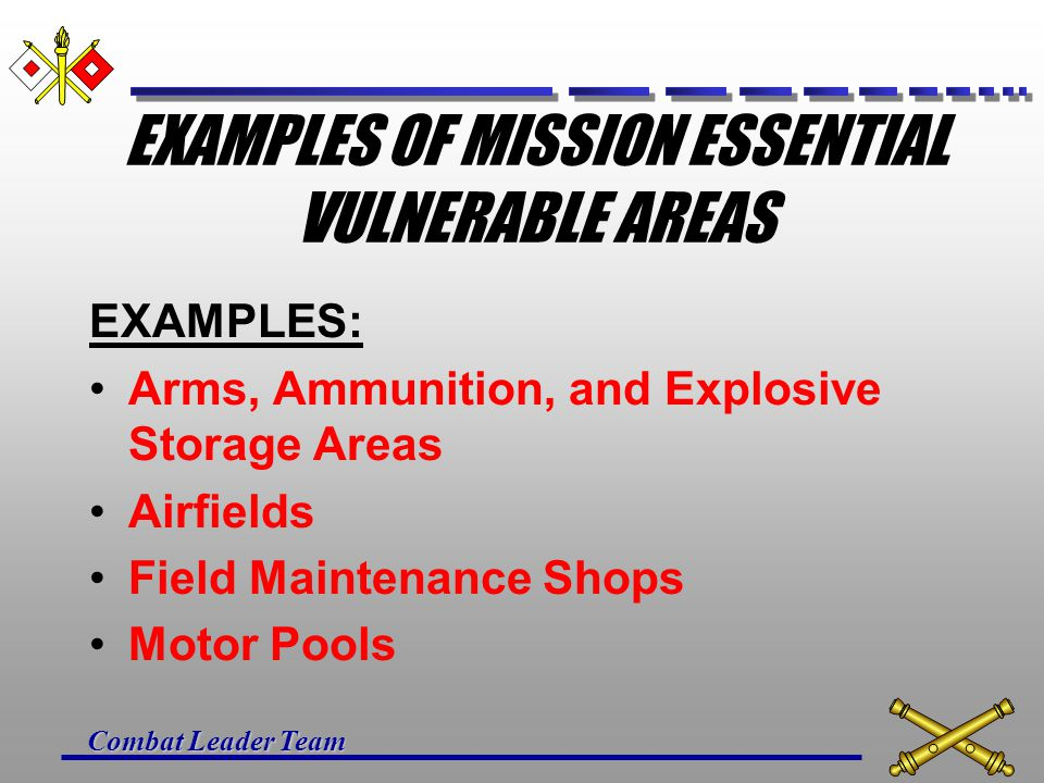 Combat Leader Team EXAMPLES OF MISSION ESSENTIAL VULNERABLE AREAS EXAMPLES: Arms, Ammunition, and Explosive Storage Areas Airfields Field Maintenance Shops Motor Pools