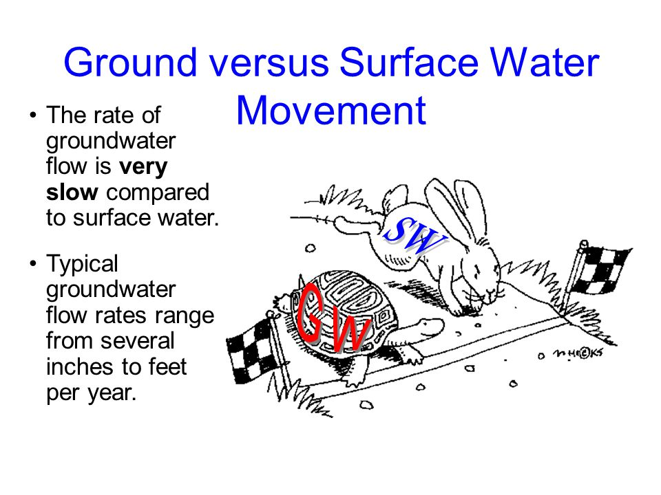 Ground versus Surface Water Movement The rate of groundwater flow is very slow compared to surface water.