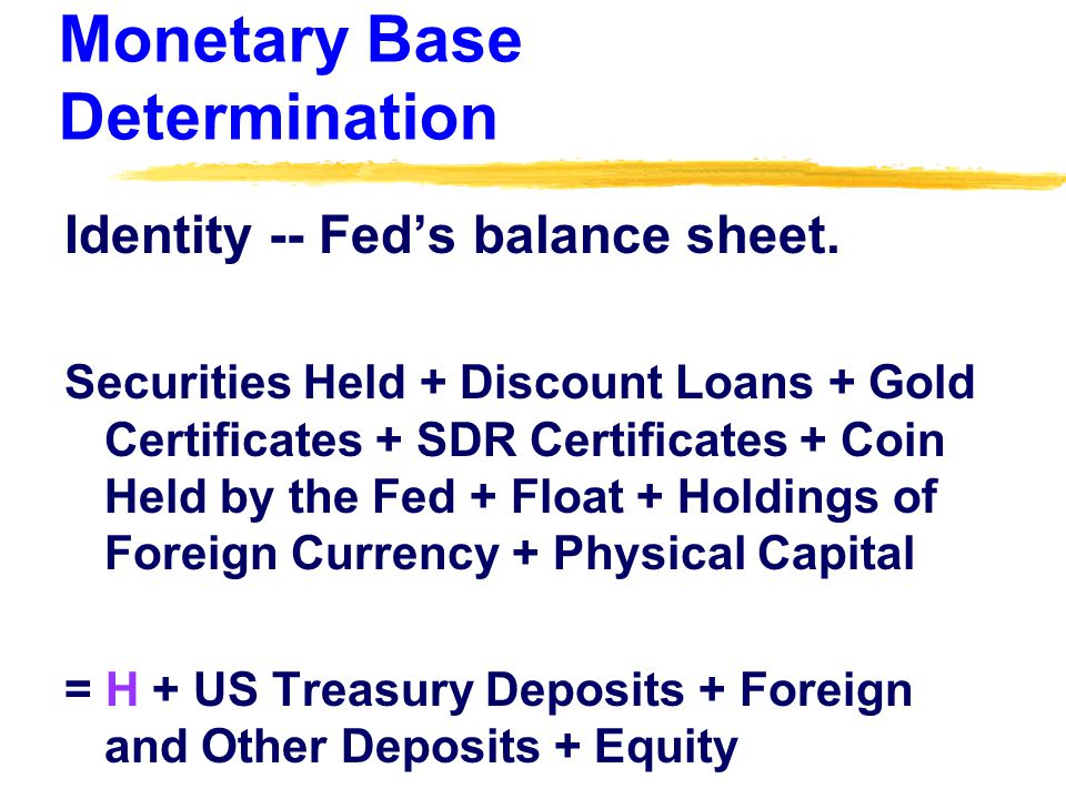 Monetary Base Determination Identity -- Fed's balance sheet. Securities Held + Discount Loans + Gold Certificates + SDR Certificates + Coin Held by th