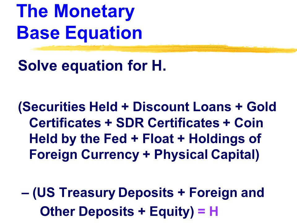 The Monetary Base Equation Solve equation for H.