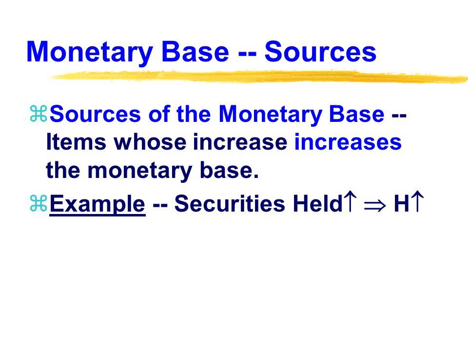 Monetary Base -- Sources zSources of the Monetary Base -- Items whose increase increases the monetary base.