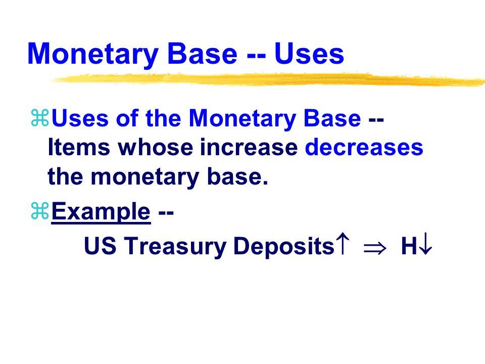 Monetary Base -- Uses zUses of the Monetary Base -- Items whose increase decreases the monetary base. zExample -- US Treasury Deposits   H 