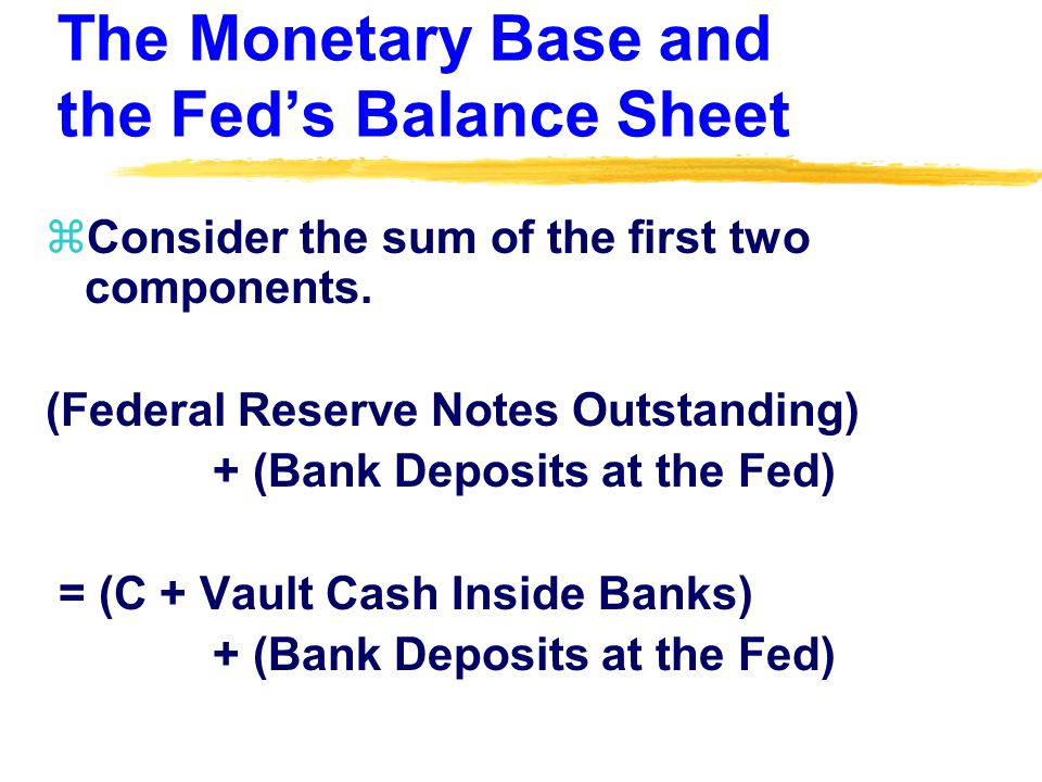 The Monetary Base and the Fed's Balance Sheet zConsider the sum of the first two components.