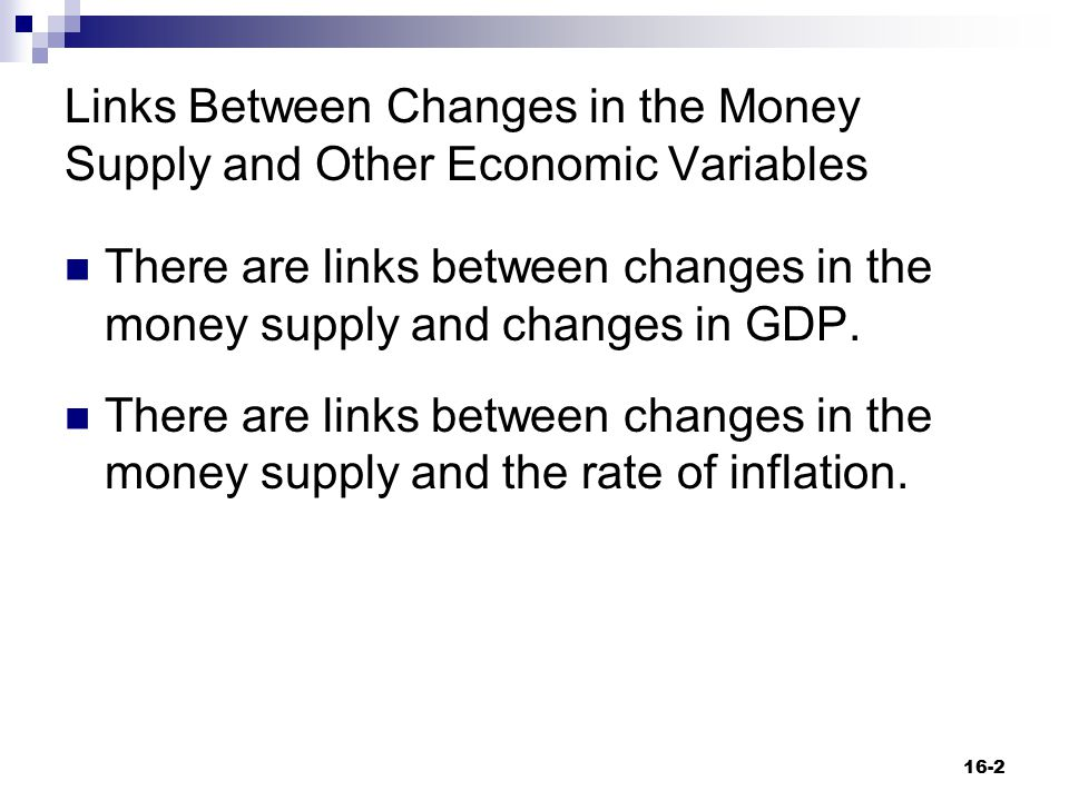 Links Between Changes in the Money Supply and Other Economic Variables There are links between changes in the money supply and changes in GDP. There a