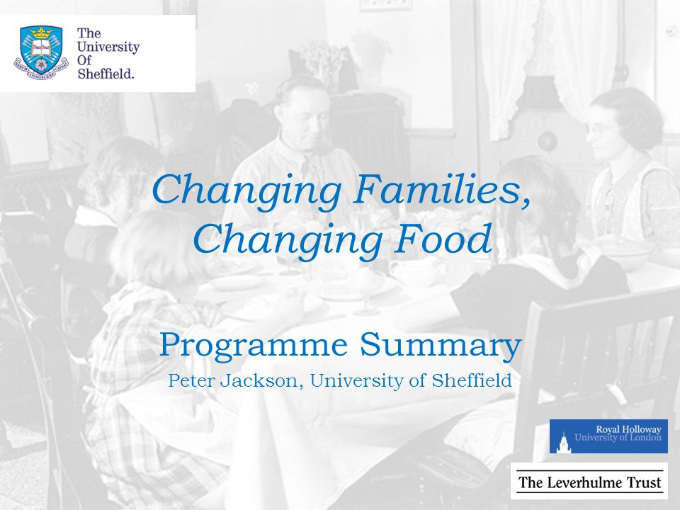 Changing Families, Changing Food Programme Summary Peter Jackson, University of Sheffield