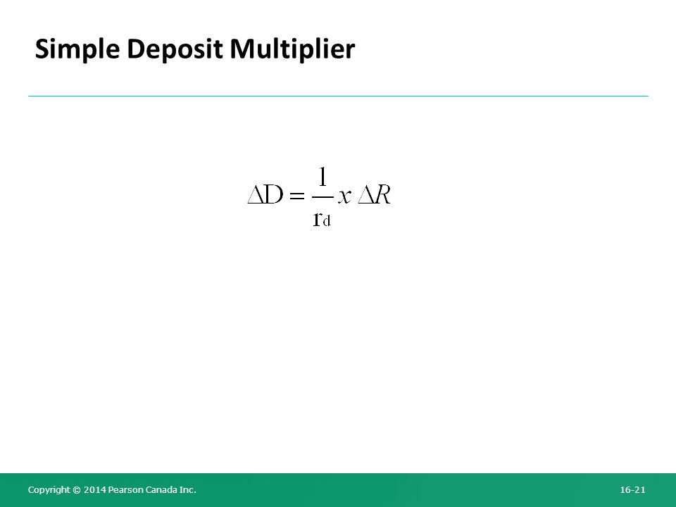 Copyright © 2014 Pearson Canada Inc. 16-21 Simple Deposit Multiplier