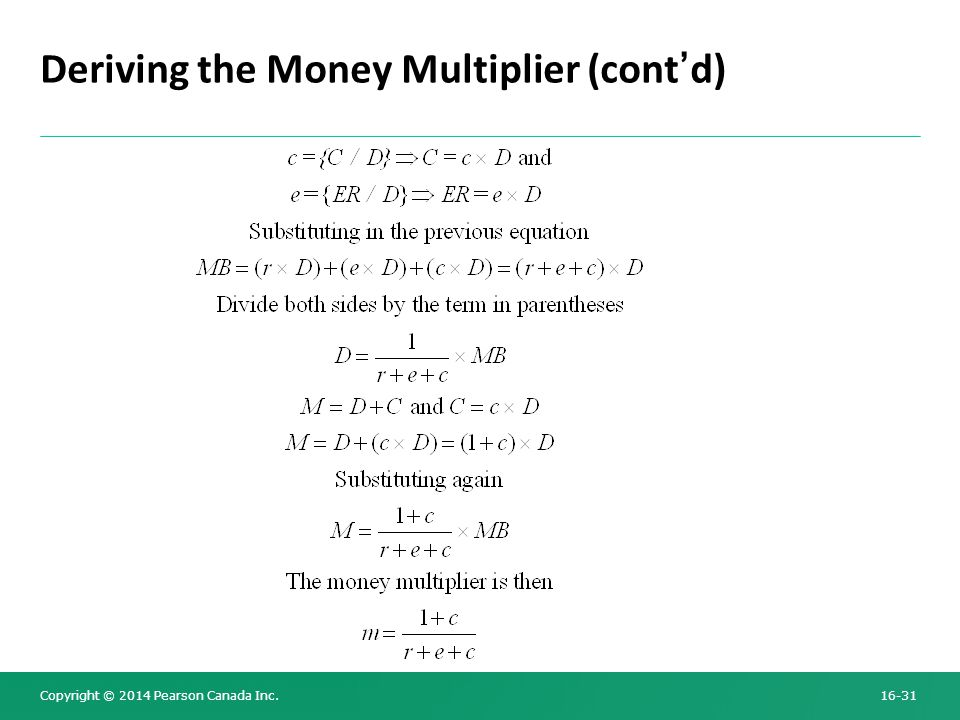 Copyright © 2014 Pearson Canada Inc. 16-31 Deriving the Money Multiplier (cont'd)