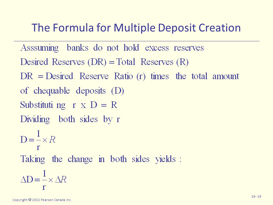 Copyright  2011 Pearson Canada Inc. 16- 19 The Formula for Multiple Deposit Creation