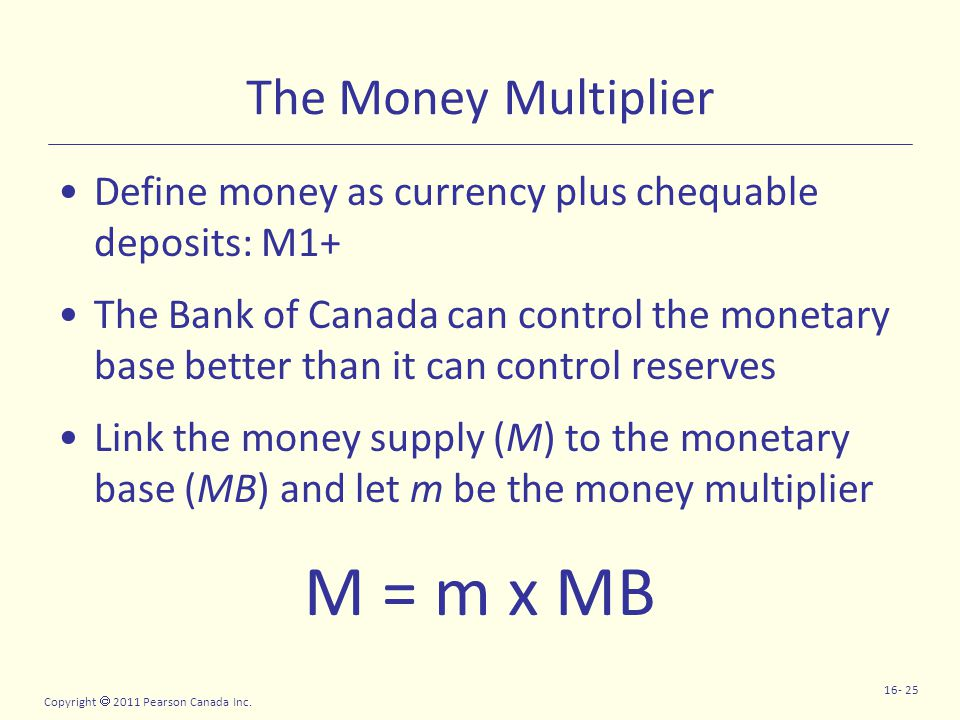 Copyright  2011 Pearson Canada Inc. 16- 25 The Money Multiplier Define money as currency plus chequable deposits: M1+ The Bank of Canada can control