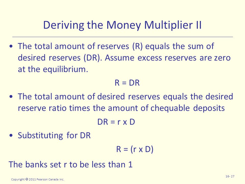 Copyright  2011 Pearson Canada Inc. 16- 27 Deriving the Money Multiplier II The total amount of reserves (R) equals the sum of desired reserves (DR).