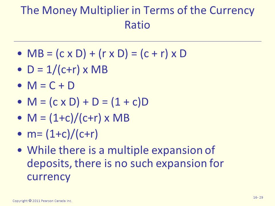 Copyright  2011 Pearson Canada Inc. 16- 29 The Money Multiplier in Terms of the Currency Ratio MB = (c x D) + (r x D) = (c + r) x D D = 1/(c+r) x MB