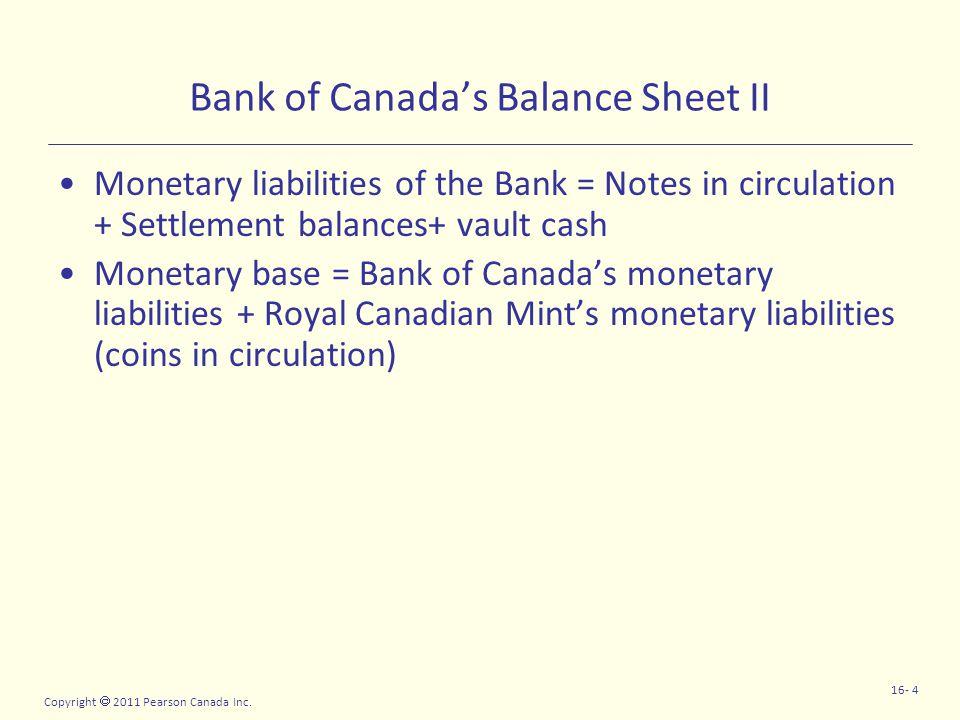 Copyright  2011 Pearson Canada Inc. 16- 4 Bank of Canada's Balance Sheet II Monetary liabilities of the Bank = Notes in circulation + Settlement bala