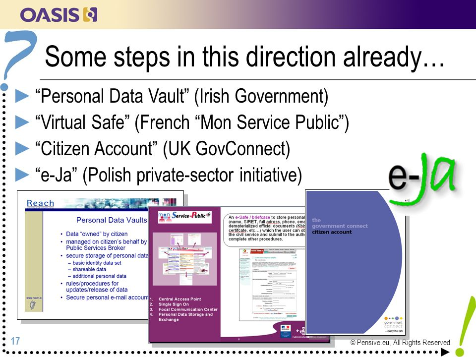 17 © Pensive.eu, All Rights Reserved Some steps in this direction already… ► Personal Data Vault (Irish Government) ► Virtual Safe (French Mon Service Public ) ► Citizen Account (UK GovConnect) ► e-Ja (Polish private-sector initiative)