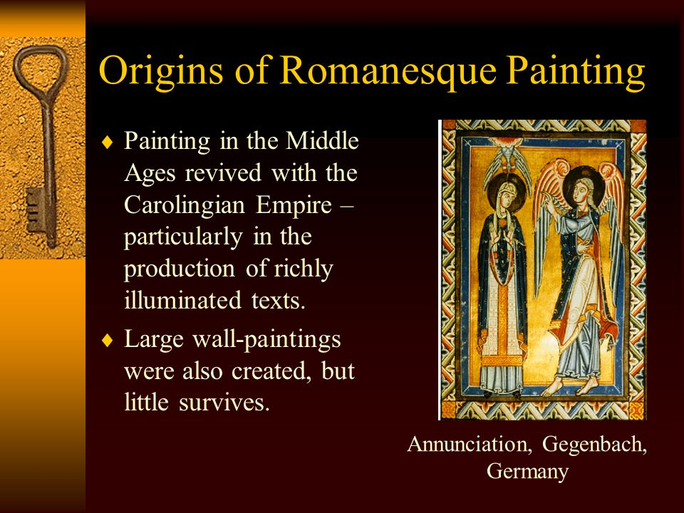 Origins of Romanesque Art  Byzantine influence was strong, but was fused with with early Christian and Germanic decorative traditions.