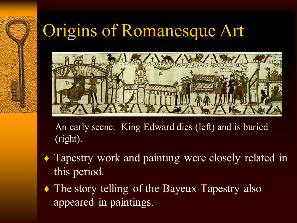 Origins of Romanesque Painting Bayeux Tapestry. A later scene, the battle rages.