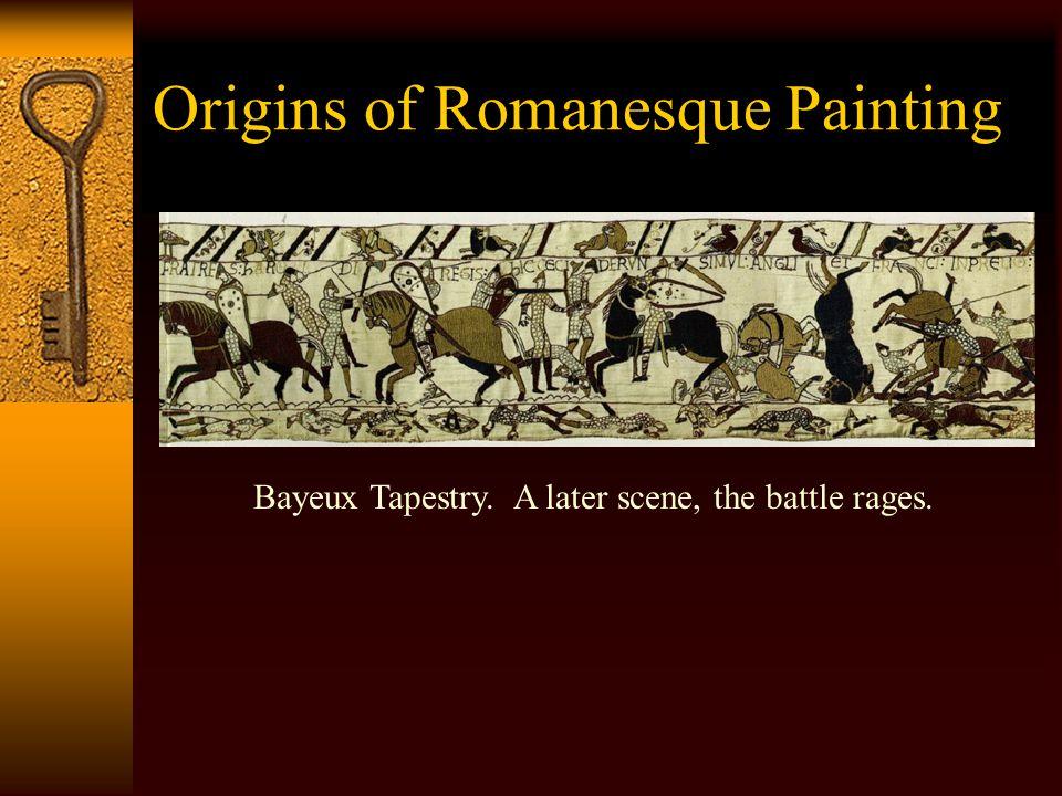 Romanesque Painting  Figures are stylized, rather than naturalistic – as in Byzantine icons.