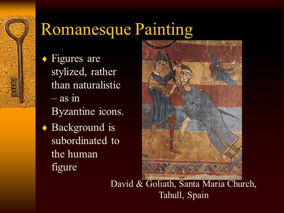 Romanesque Painting  Figures are generally sized according to importance, not in accordance with perspective.