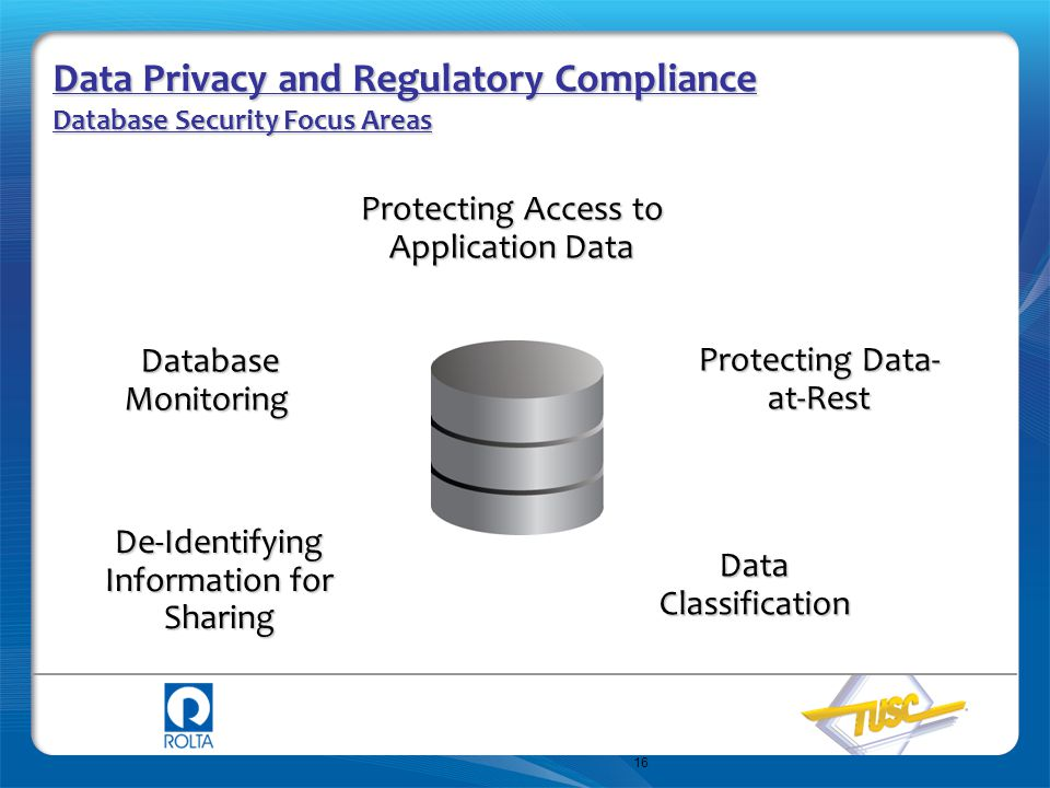 16 Data Privacy and Regulatory Compliance Database Security Focus Areas Protecting Access to Application Data Data Classification Database Monitoring