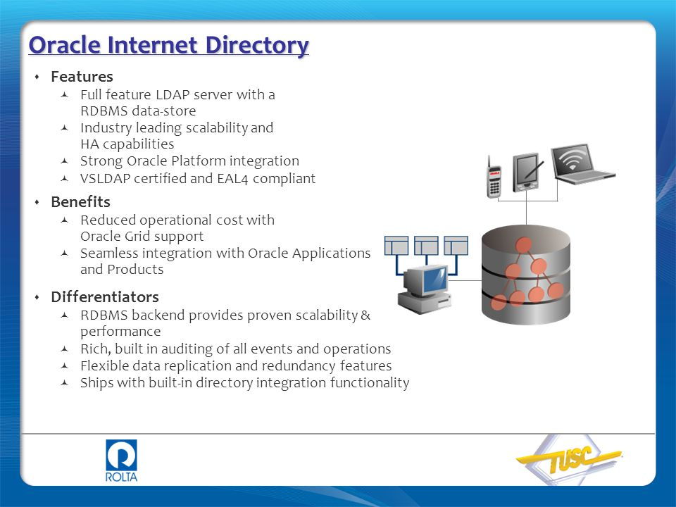 Oracle Internet Directory  Features Full feature LDAP server with a RDBMS data-store Industry leading scalability and HA capabilities Strong Oracle P
