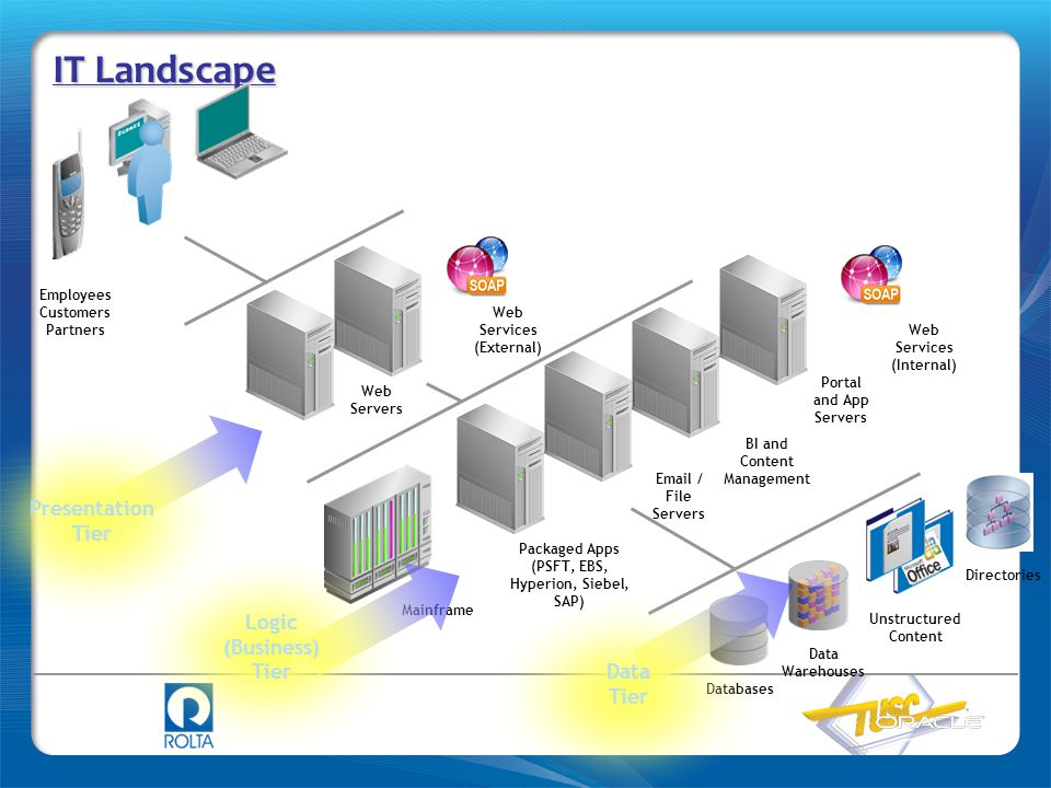 IT Landscape Employees Customers Partners Directories Web Servers Packaged Apps (PSFT, EBS, Hyperion, Siebel, SAP) BI and Content Management Portal an