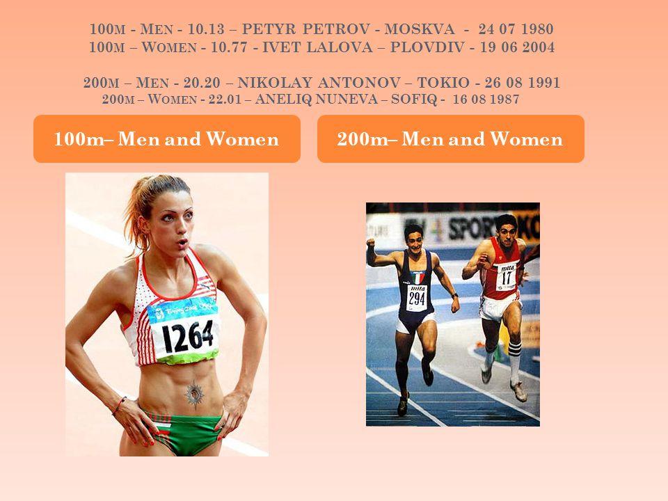 100 M - M EN - 10.13 – PETYR PETROV - MOSKVA - 24 07 1980 100 M – W OMEN - 10.77 - IVET LALOVA – PLOVDIV - 19 06 2004 200 M – M EN - 20.20 – NIKOLAY ANTONOV – TOKIO - 26 08 1991 200 M – W OMEN - 22.01 – ANELIQ NUNEVA – SOFIQ - 16 08 1987 100m– Men and Women 200m– Men and Women