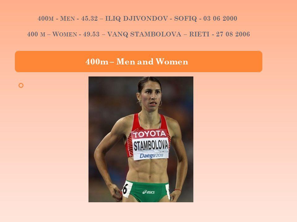 400 M - M EN - 45.32 – ILIQ DJIVONDOV - SOFIQ - 03 06 2000 400 M – W OMEN - 49.53 – VANQ STAMBOLOVA – RIETI - 27 08 2006 400m – Men and Women