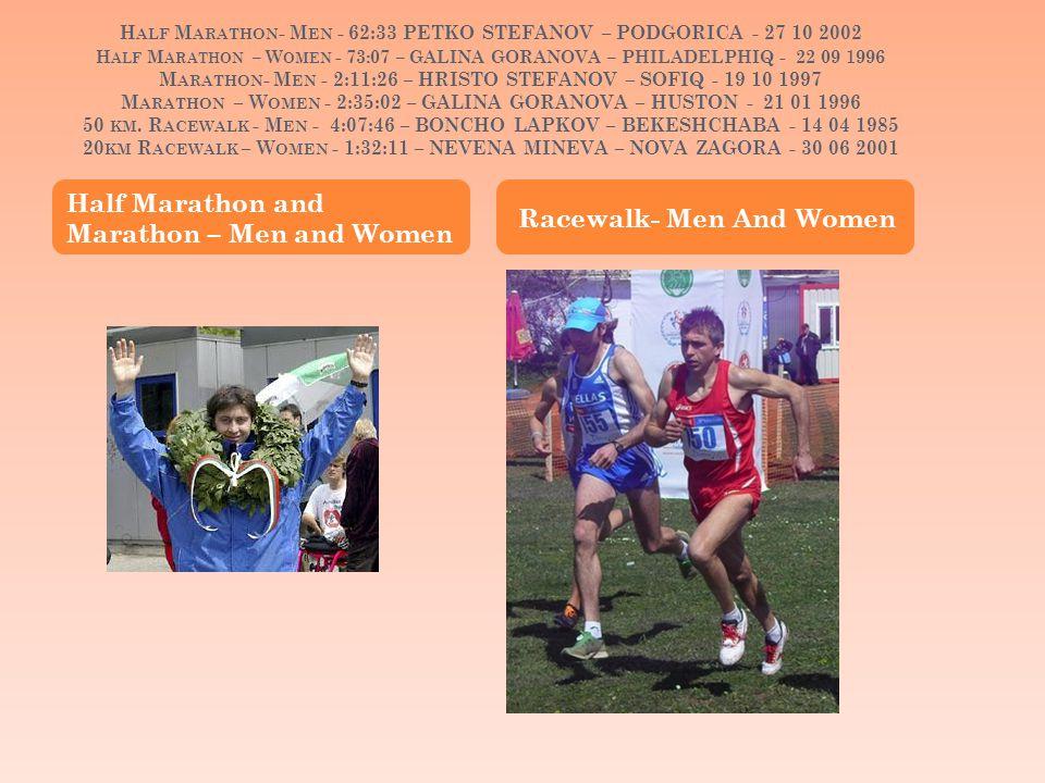 H ALF M ARATHON - M EN - 62:33 PETKO STEFANOV – PODGORICA - 27 10 2002 H ALF M ARATHON – W OMEN - 73:07 – GALINA GORANOVA – PHILADELPHIQ - 22 09 1996 M ARATHON - M EN - 2:11:26 – HRISTO STEFANOV – SOFIQ - 19 10 1997 M ARATHON – W OMEN - 2:35:02 – GALINA GORANOVA – HUSTON - 21 01 1996 50 KM.