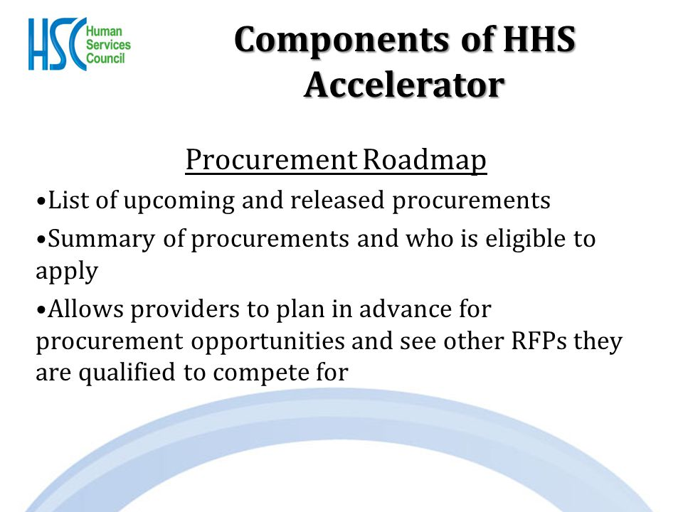 Components of HHS Accelerator Procurement Roadmap List of upcoming and released procurements Summary of procurements and who is eligible to apply Allows providers to plan in advance for procurement opportunities and see other RFPs they are qualified to compete for
