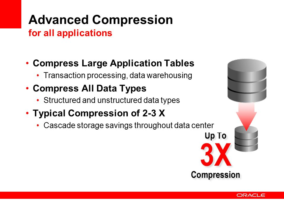 Advanced Compression for all applications Compress Large Application Tables Transaction processing, data warehousing Compress All Data Types Structured and unstructured data types Typical Compression of 2-3 X Cascade storage savings throughout data center