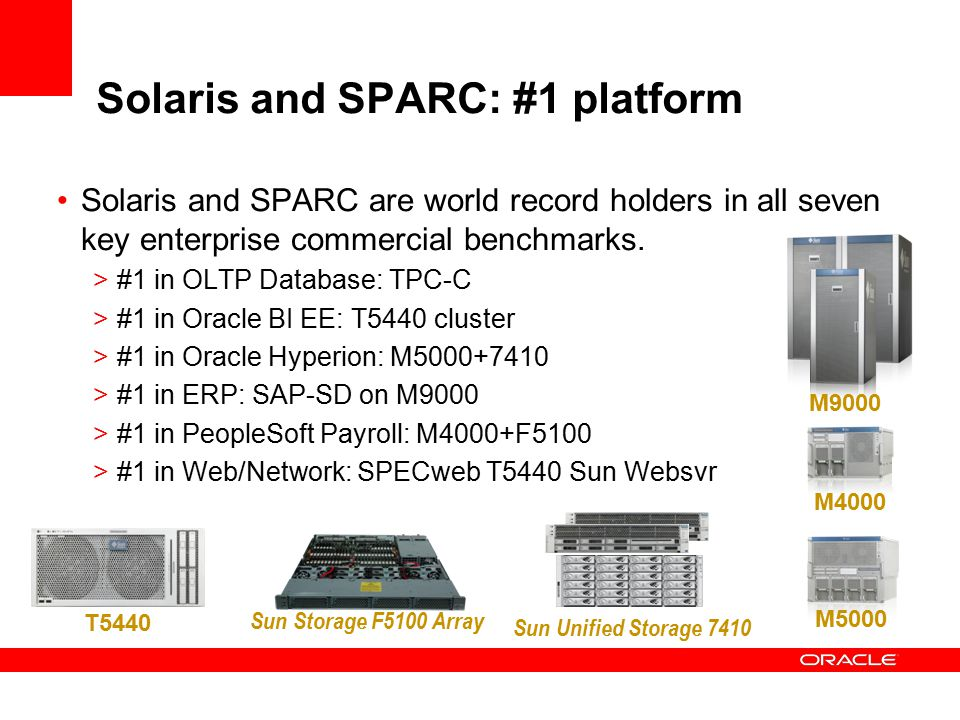 Solaris and SPARC: #1 platform Solaris and SPARC are world record holders in all seven key enterprise commercial benchmarks.