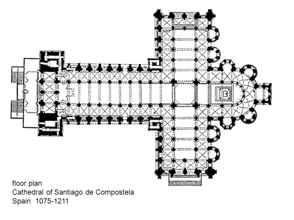 floor plan Cathedral of Santiago de Compostela Spain 1075-1211