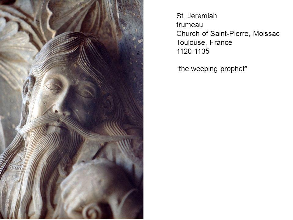 "St. Jeremiah trumeau Church of Saint-Pierre, Moissac Toulouse, France 1120-1135 ""the weeping prophet"""