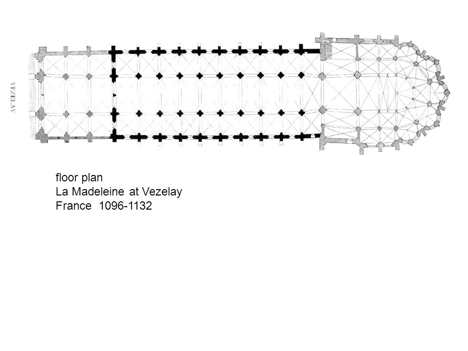 floor plan La Madeleine at Vezelay France 1096-1132