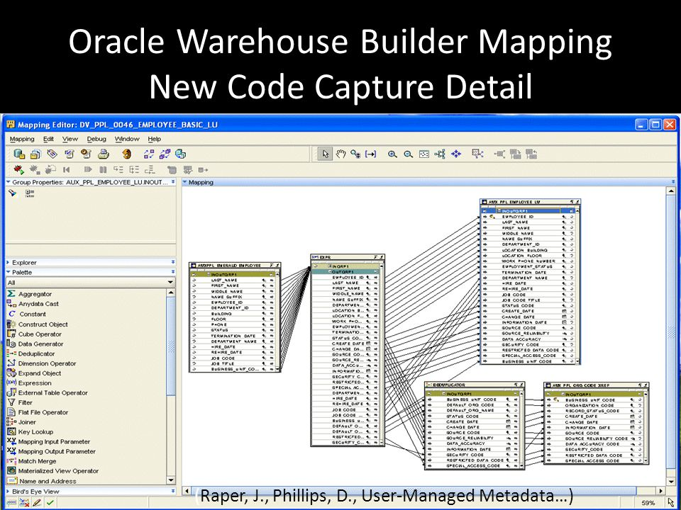17 Oracle Warehouse Builder Mapping New Code Capture Detail (Raper, J., Phillips, D., User-Managed Metadata…)