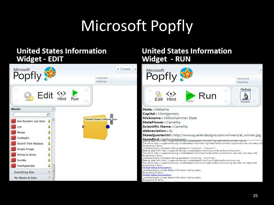 Microsoft Popfly United States Information Widget - EDIT 25 United States Information Widget - RUN