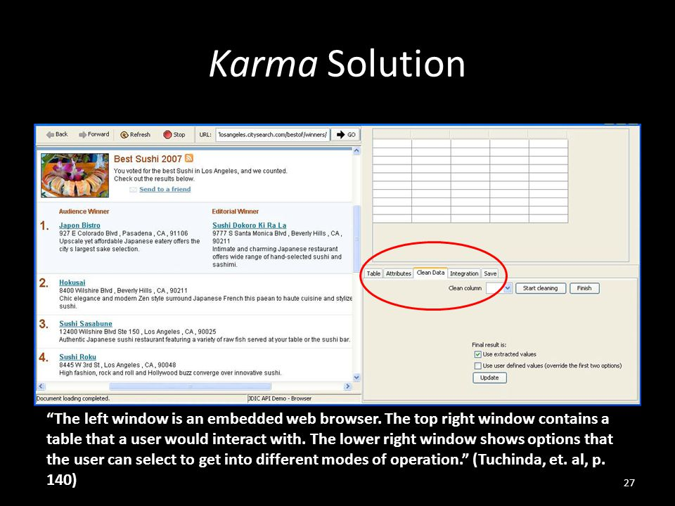 Karma Solution 27 The left window is an embedded web browser.