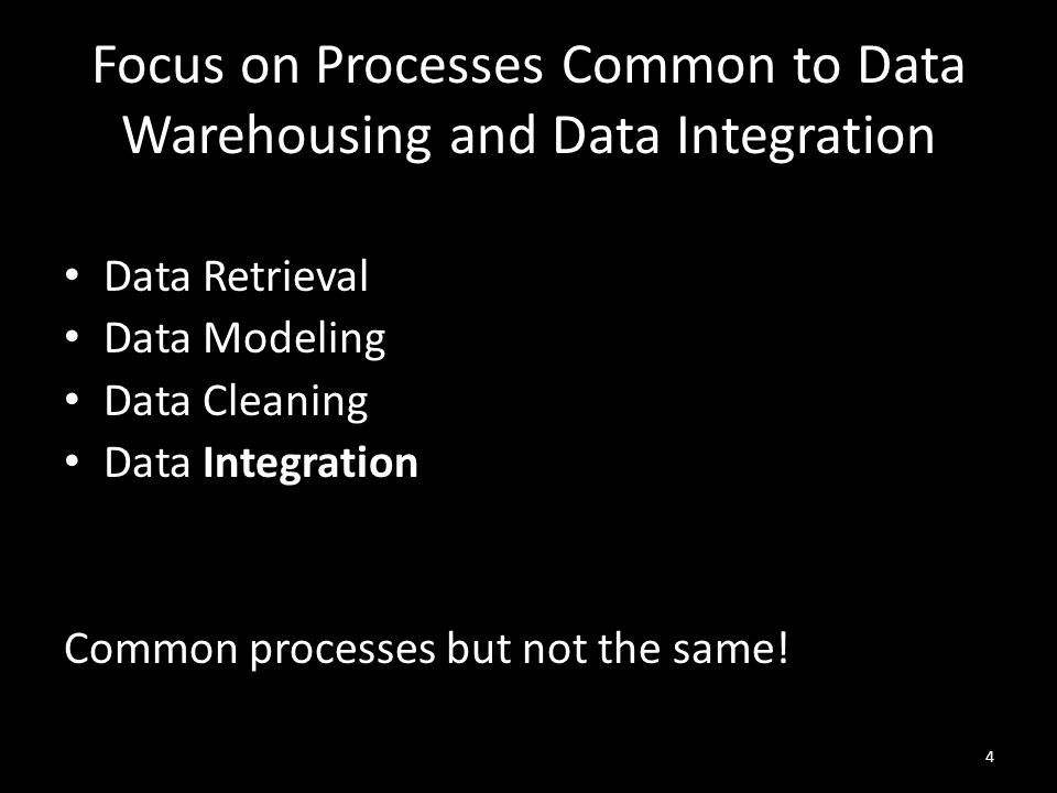 Focus on Processes Common to Data Warehousing and Data Integration Data Retrieval Data Modeling Data Cleaning Data Integration Common processes but not the same.