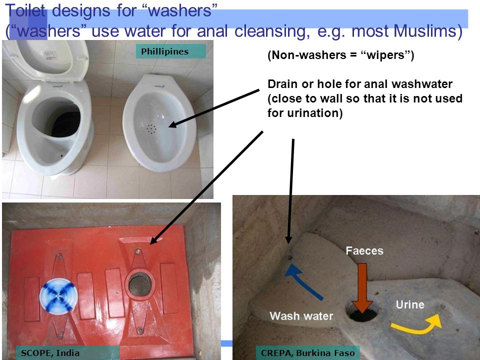 "16 Toilet designs for ""washers"" (""washers"" use water for anal cleansing, e.g. most Muslims) (Non-washers = ""wipers"") Drain or hole for anal washwater"