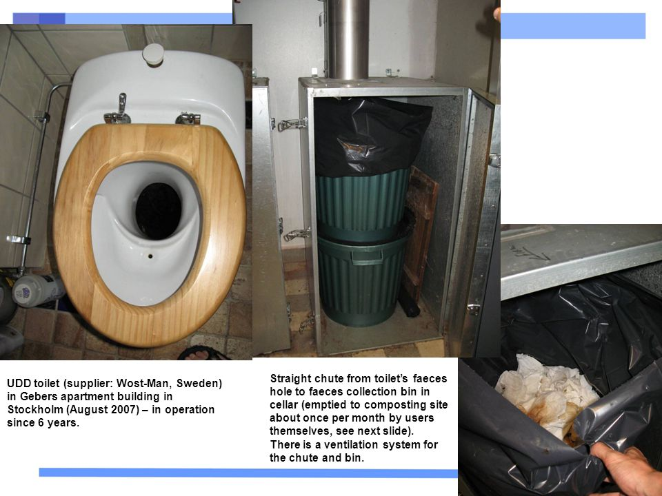 33 UDD toilet (supplier: Wost-Man, Sweden) in Gebers apartment building in Stockholm (August 2007) – in operation since 6 years. Straight chute from t