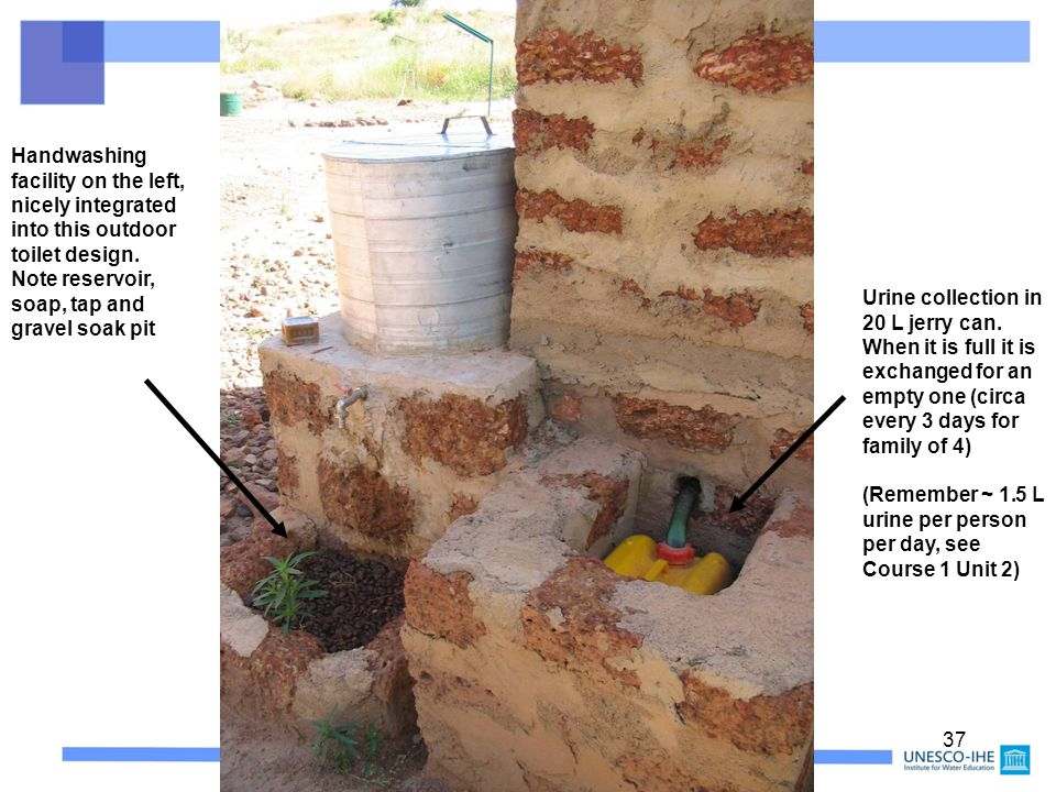 37 Handwashing facility on the left, nicely integrated into this outdoor toilet design. Note reservoir, soap, tap and gravel soak pit Urine collection