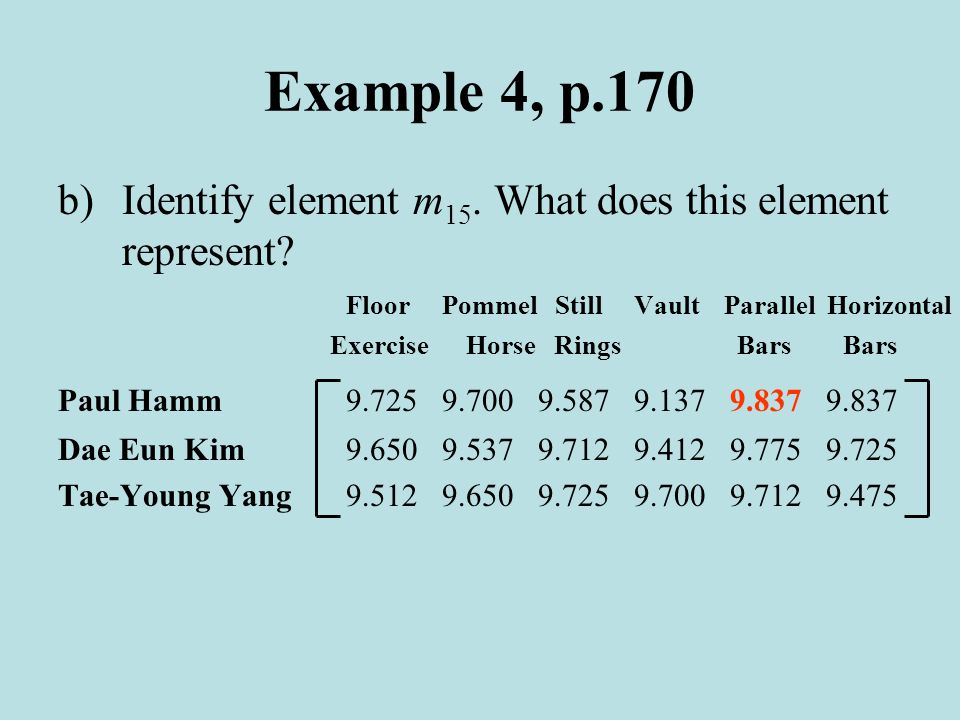 Example 4, p.170 b)Identify element m 15. What does this element represent.