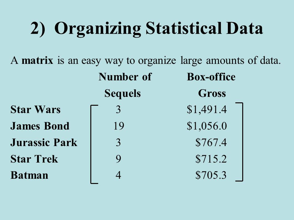 2) Organizing Statistical Data A matrix is an easy way to organize large amounts of data.
