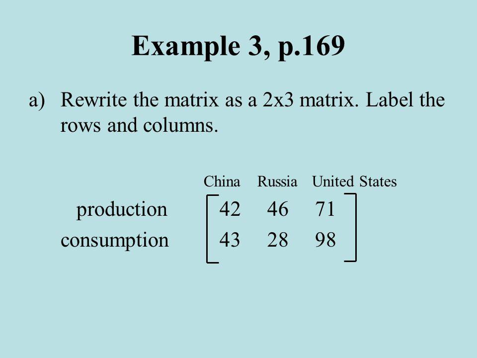 Example 3, p.169 a)Rewrite the matrix as a 2x3 matrix.