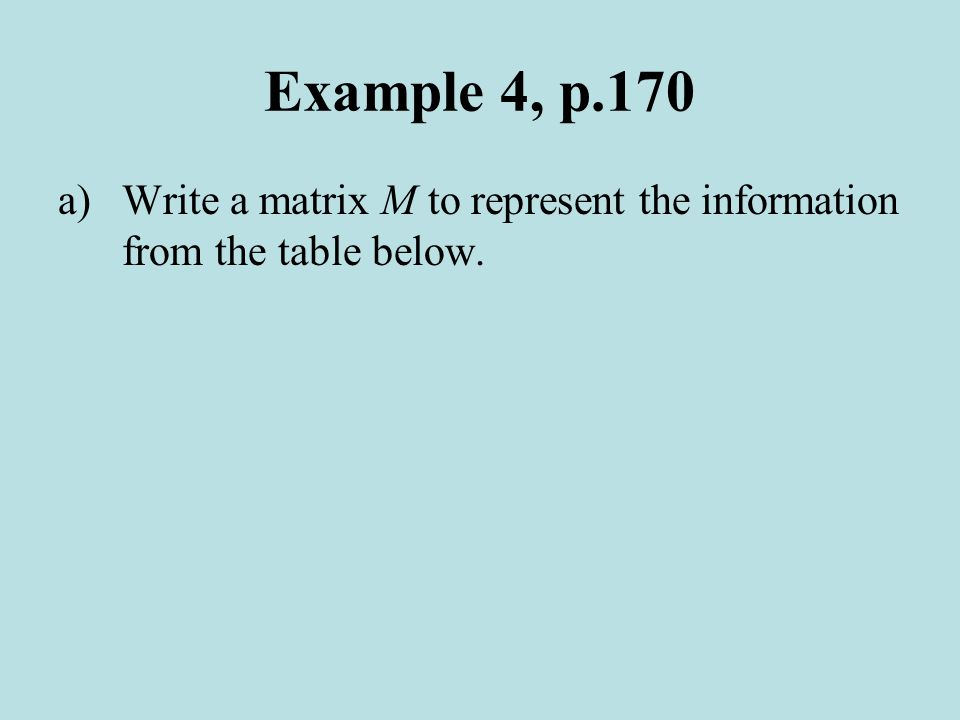 Example 4, p.170 a)Write a matrix M to represent the information from the table below.