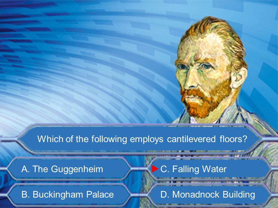 A. Frank Lloyd Wright B. Louis Sullivan C. Buckminster Fuller D. Luis Barragan Who is the architect of Falling Water? 