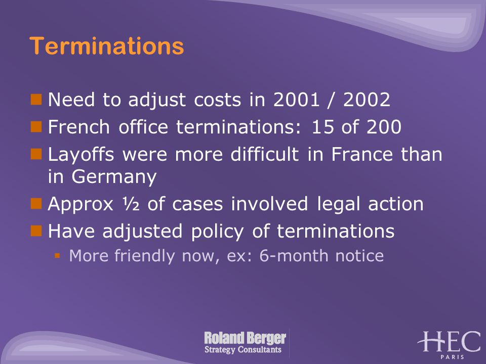 Terminations Need to adjust costs in 2001 / 2002 French office terminations: 15 of 200 Layoffs were more difficult in France than in Germany Approx ½