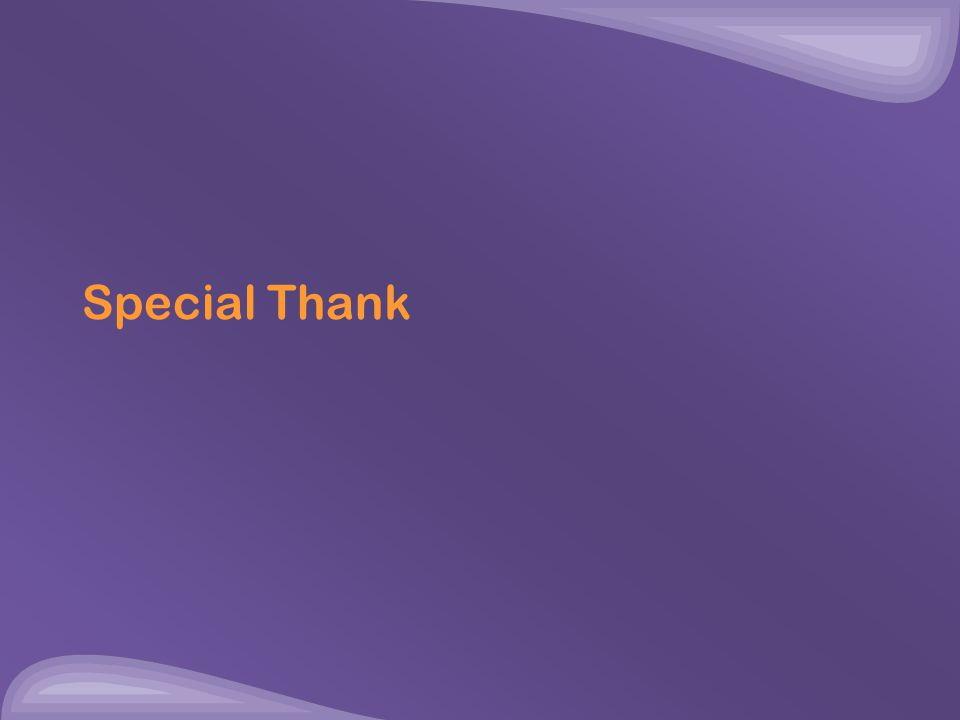 Special Thank